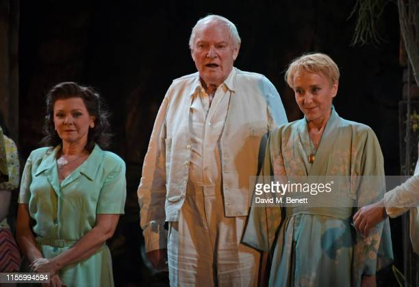 Finty Williams Julian Glover and Lia Williams bow at the curtain call during the press night performance of The Night Of The Iguana at The Noel...
