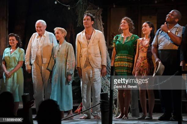 Finty Williams Julian Glover Lia Williams Clive Owen Anna Gunn Emma Canning and Faz Singhateh bow at the curtain call during the press night...