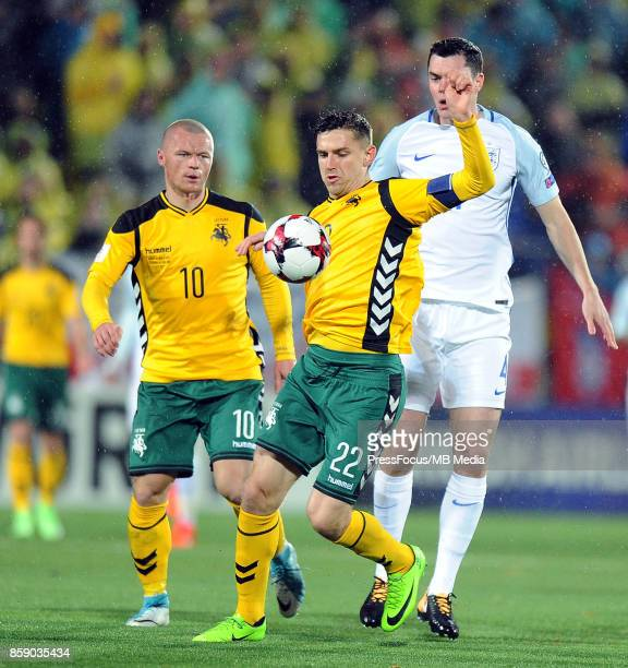 Fiodor Cernych and Michael Keane during the FIFA 2018 World Cup Qualifier between Lithuania and England on October 8 2017 in Vilnius Lithuania