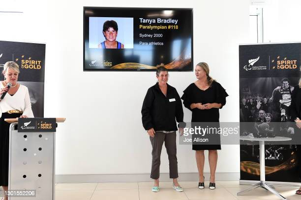 Fiona Allan presents Tanya Bradley with her Official Paralympic pin during the Paralympics New Zealand Celebration Project Community Event at Cooke...