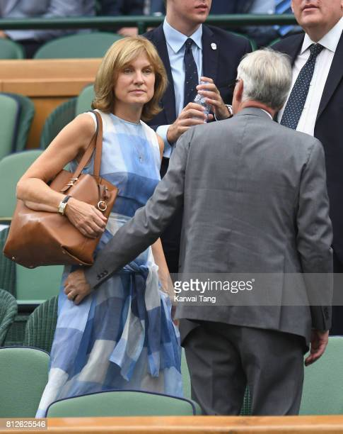 Fiona Bruce and Nigel Sharrocks attend day eight of the Wimbledon Tennis Championships at the All England Lawn Tennis and Croquet Club on July 11,...