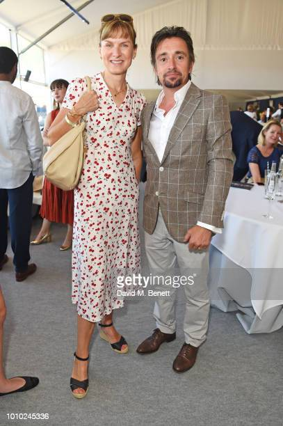 Fiona Bruce and Richard Hammond attend the Longines hospitality lounge during the Global Champions Tour at Royal Hospital Chelsea on August 3 2018 in...