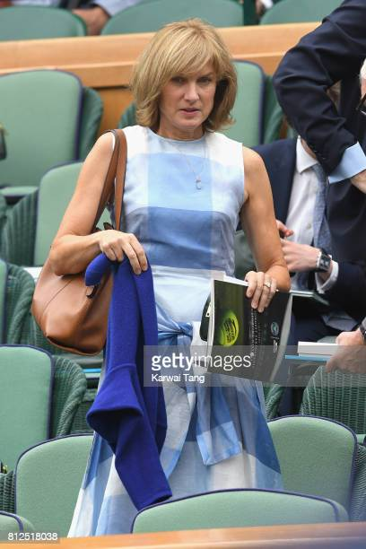 Fiona Bruce attends day eight of the Wimbledon Tennis Championships at the All England Lawn Tennis and Croquet Club on July 11, 2017 in London,...