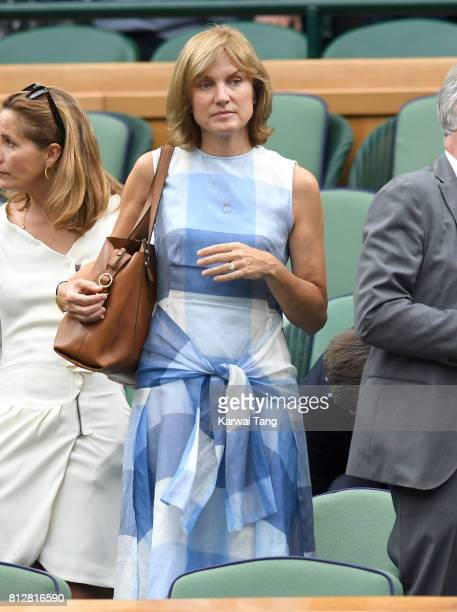 Fiona Bruce attends day eight of the Wimbledon Tennis Championships at the All England Lawn Tennis and Croquet Club on July 11 2017 in London United...