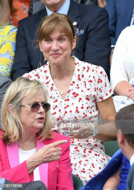Fiona Bruce attends day nine of the Wimbledon Tennis Championships at All England Lawn Tennis and Croquet Club on July 10 2019 in London England