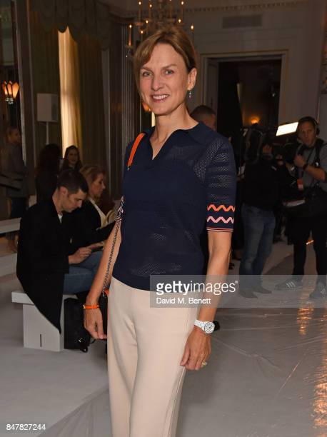 Fiona Bruce attends the Jasper Conran SS18 catwalk show during London Fashion Week September 2017 on September 16 2017 in London United Kingdom