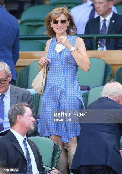 Fiona Bruce attends the men's singles final on day thirteen of the Wimbledon Tennis Championships at the All England Lawn Tennis and Croquet Club on...