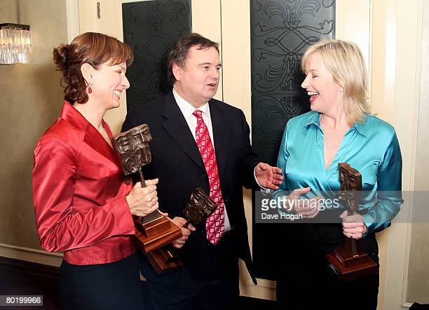 Fiona Bruce Eamonn Holmes and Carol Kirkwood laugh in the awards room with their Newscaster/Reporter award sponsored by Cardiff Pinnacle...