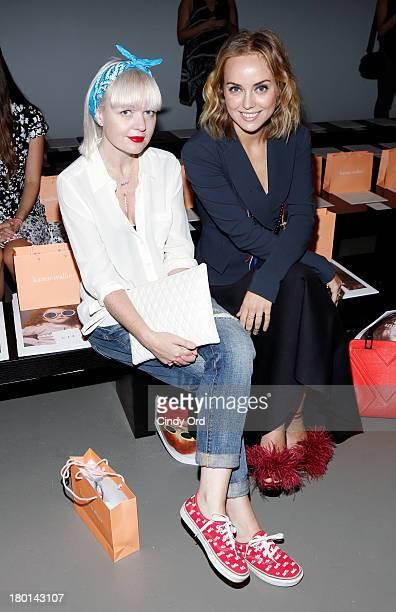 Fiona Byrne and Kelly Framel attend the Karen Walker fashion show during Mercedes-Benz Fashion Week Spring 2014 at Pier 59 on September 9, 2013 in...