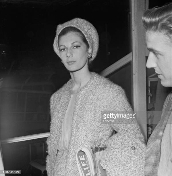 Fiona Campbell-Walter, Baroness Thyssen, at Heathrow Airport, London, UK, 14th October 1963.