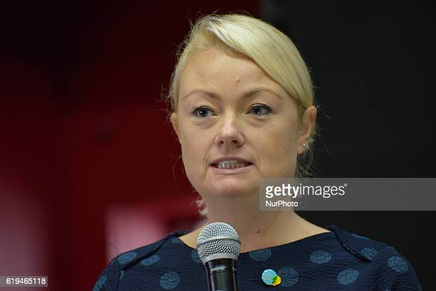 Fiona Carter Human Resources director of Higer Access speaks at the Greater Manchester Living Wage campaign event on October 31 2016 in Manchester...