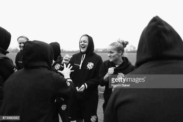 Fiona Coghlan and Tova Derk join in with the team to play rock paper scissors ahead of the Inaugural Representative Match between Barbarians Women's...