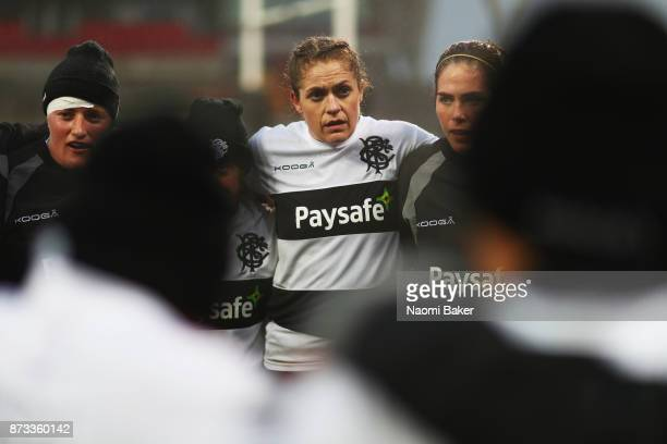 Fiona Coghlan looks on during the warm up prior to the Inaugural Representative Match between Barbarians Women's RFC and Munster Women on November 10...