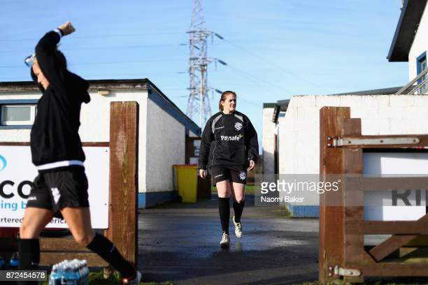 Fiona Coghlan walk onto the pitch during the Women's Barbarians first training session on November 9 2017 in Limerick Ireland