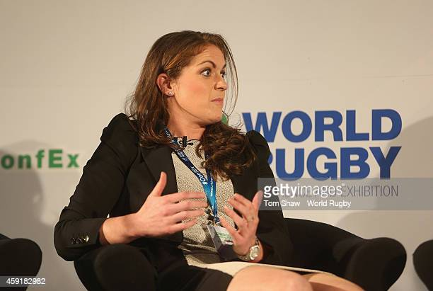 Fiona Coughlan former Ireland captain talks during the Integrity session during day 2 of the iRB World Rugby Exhibition Conference at the Hilton...