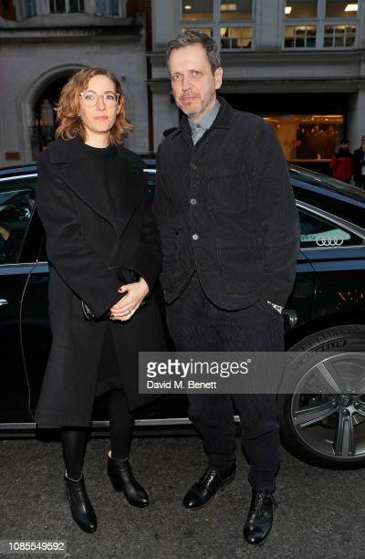 Fiona Crombie and guest arrive in an Audi at the London Critics' Circle Film Awards 2019 at The Mayfair Hotel on January 20 2019 in London Englan