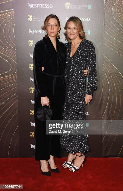 Fiona Crombie and guest attend the Nespresso British Academy Film Awards nominees party at Kensington Palace on February 9 2019 in London England