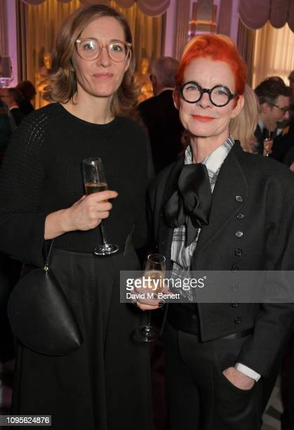 Fiona Crombie and Sandy Powell attend attends the 91st Academy Awards Champagne Tea Reception at Claridge's Hotel on February 8 2019 in London England