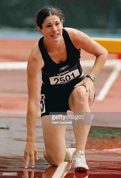 Fiona Crombie of New Zealand injures her ankle in the water jump in the Womens 3000 Metre Steeplechase during the Victorian Athletic Championships...
