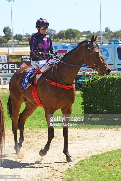 Fiona Crystal ridden by Dean Yendall returns to the mounting yard after winning Noel Watson Real Estate BM64 Handicap at Swan Hill Racecourse on...