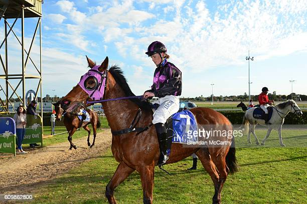 Fiona Crystal ridden by Jessica Eaton returns to the mounting yard after winning Swan Hill Bus Lines BM58 Handicap at Swan Hill Racecourse on...