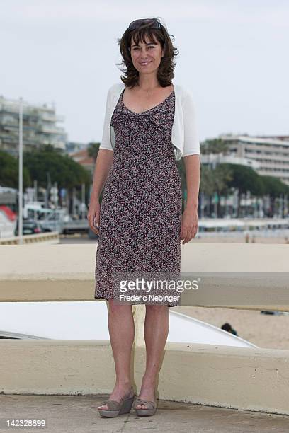Fiona Dolman attends a photocall for 'Midsomer Murders' as part of MIP TV 2012 at Majestic Beach on April 2 2012 in Cannes France