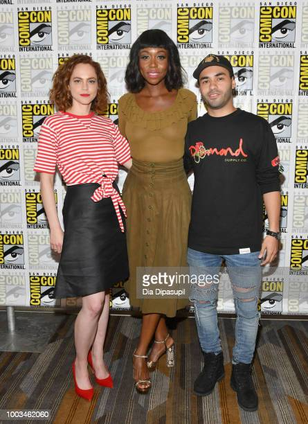 Fiona Dourif Amanda Warren and Gabriel Chavarria attend the 'The Purge' Press Line during ComicCon International 2018 at Hilton Bayfront on July 21...
