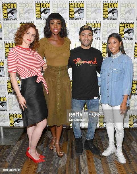 Fiona Dourif Amanda Warren Gabriel Chavarria and Lex Scott Davis attend the 'The Purge' Press Line during ComicCon International 2018 at Hilton...