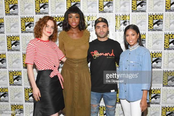 Fiona Dourif Amanda Warren Gabriel Chavarria and Lex Scott Davis attend the 'The Purge' Press Line during ComicCon International 2018 at Hilton...