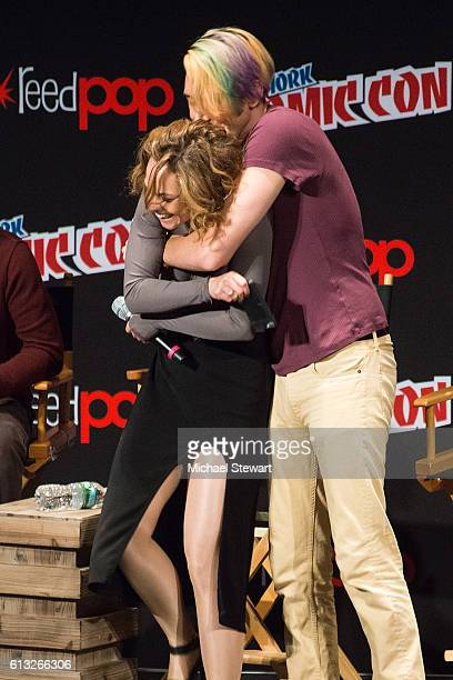 Fiona Dourif and Max Landis attend BBC America Takeover featuring Doctor Who Class and Dirk Gently's Holistic Detective Agency panel during 2016 New...