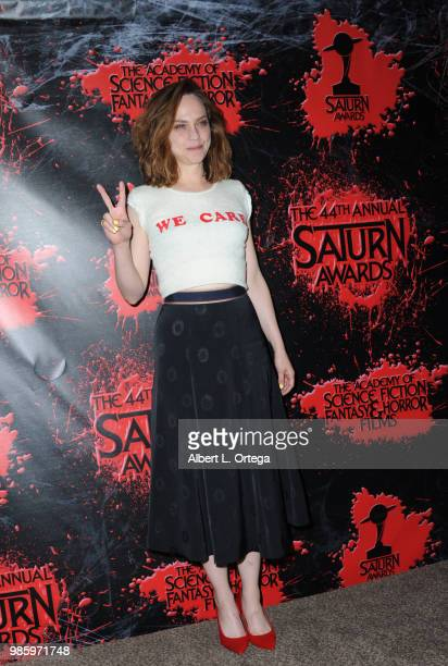 Fiona Dourif poses in the press room at the Academy Of Science Fiction Fantasy Horror Films' 44th Annual Saturn Awards at The Castaway on June 27...