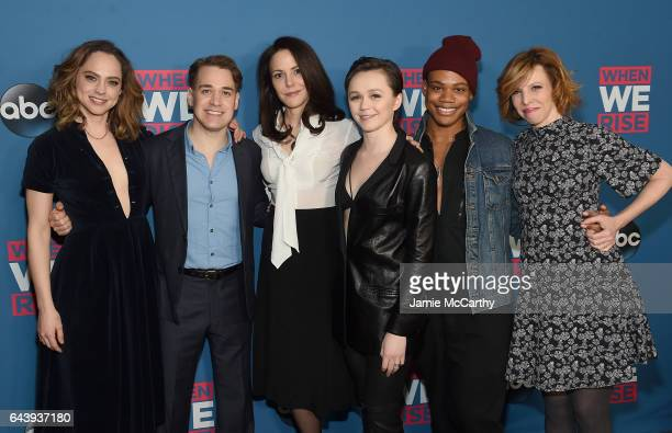 Fiona Dourif TR KnightMaryLouise Parker Emily SkeggsJustin Sams and Maddie Corman attend the When We Rise New York Screening Event at The Metrograph...