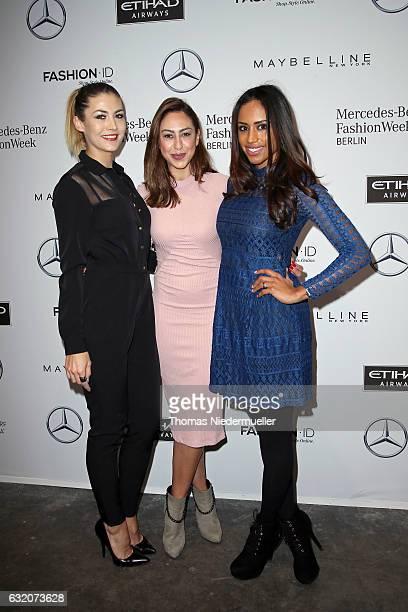 Fiona Erdmann Melissa Khalaj and Lisa Griess attend the Ewa Herzog show during the MercedesBenz Fashion Week Berlin A/W 2017 at Kaufhaus Jandorf on...