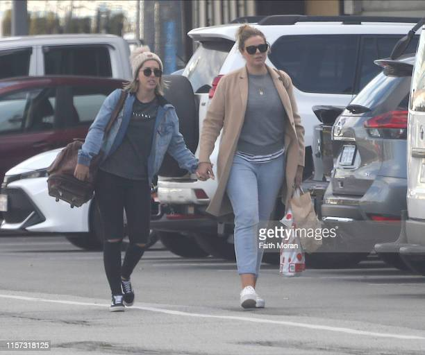 Fiona Falkiner and Hayley Willis are seen leaving Rottnest Island Ferry Terminal in Fremantle on June 21 2019 in Perth Australia