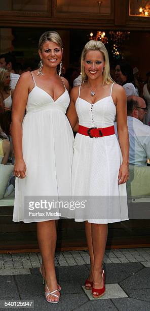 Fiona Falkiner left and Ali Mutch at the Social Diary Christmas party at Pink Salt in Double Bay Sydney 23 November 2006 SHD Picture by JENNY EVANS
