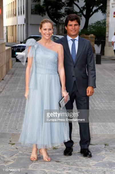 Fiona Ferrer and Javier Fal Conde attend Ainhoa Arteta's wedding on June 23 2019 at Castillo de San Marcos in Cadiz Spain