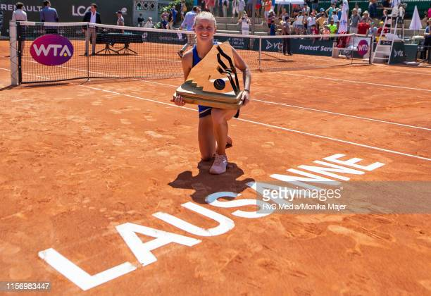 Fiona Ferro of France celebrates with trophy during WTA Ladies Open Lausanne at Tennis Club Stade-Lausanne on July 21, 2019 in Lausanne, Switzerland.