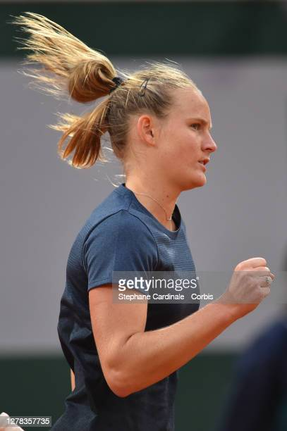Fiona Ferro of France reacts during her Women's Singles second round match against Elena Rybakina of Kazakhstan on day five of the 2020 French Open...