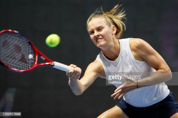 Fiona Ferro of France returns the ball to Elena Rybakina of Kazakhstan during their WTA St. Petersburg Ladies Trophy 2019 tennis tournament Round of...