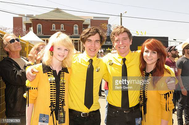 Fiona Flaherty, Ronald Marsh, Cam Sarret and Dani Robb attend Jerry Lee Lewis's performance at Third Man Records on April 17, 2011 in Nashville,...