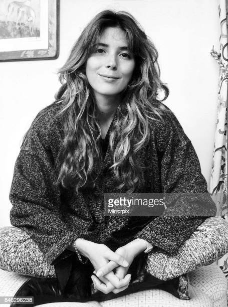 Fiona Flanagan sitting with legs crossed October 1987