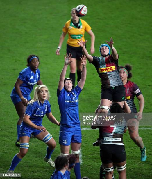 Fiona Fletcher of Harlequins claims the lineout during the Big Game match between Harlequins Women and Leinster Women at Twickenham Stadium on...
