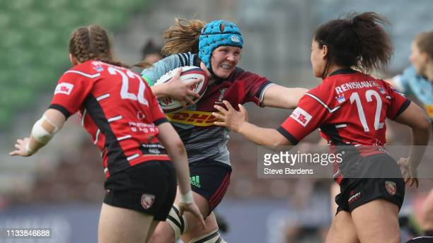 Fiona Fletcher of Harlequins Ladies hands off Tatyana Heard of Gloucester Hartpury during the Harlequins Ladies v Gloucester Hartpury Tyrrells...