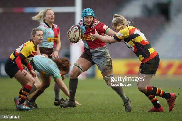 Fiona Fletcher of Harlequins Ladies is tackled by Emelie Hellgren of Richmond FC during the Harlequins Ladies v Richmond FC Tyrrells Premier 15s...