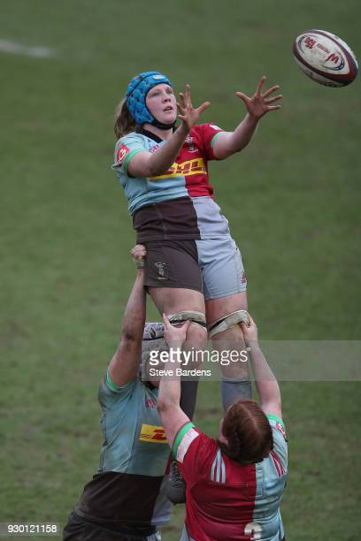 Fiona Fletcher of Harlequins Ladies wins a line out during the Harlequins Ladies v Richmond FC Tyrrells Premier 15s match at Twickenham Stoop on...