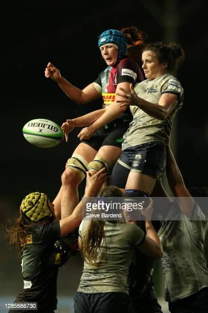 Fiona Fletcher of Harlequins Women challenges for the ball in a line out during the Allianz Premier 15s match between Harlequins Women and Sale...