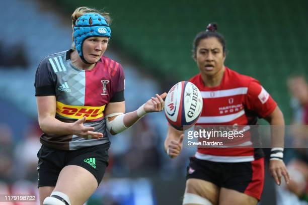 Fiona Fletcher of Harlequins Women passes the ball during the Tyrrells Premier 15s match between Harlequins Women and Gloucester Hartpury at...