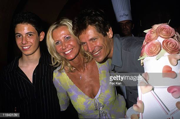 Fiona Gelin Her Son Milan and Guest during Fiona Gelin's Birthday Party June 22 2005 at Castel Club in Paris France