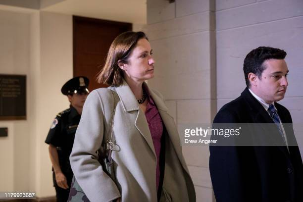 Fiona Hill former deputy assistant to the President and Senior Director for Europe and Russia on the National Security Council staff exits a closed...