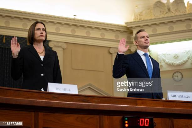 Fiona Hill former National Security Council Russia adviser left and David Holmes counselor for political affairs at the US Embassy in Ukraine are...
